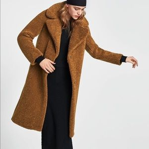 Zara Long Textured Teddy Trench Coat